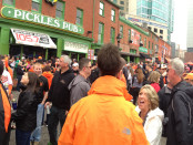 Fans gather outside Orioles Park at Camden Yards on Opening Day. Photo by Erica Scripa.