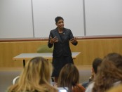 U.S. Senate candidate Donna Edwards speaks at Towson University. Photo from Edwards' Facebook page.