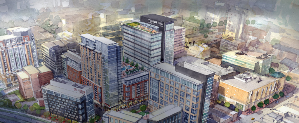 Artist rendition of Towson Row. Photo from The Greater Towson Council of Community Associations.