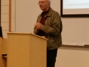 Philosopher Peter Singer talks about ethics during a Nov. 11 speech at Towson University. Photo by Tim Barbalace.
