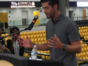Ravens kicker Justin Tucker tells Towson students to be persistent if they want to be successful. Photo by Kristen Maloney.