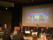 Republican candidates debated everything from Obamacare to immigration Thursday night. From left to right, Richard Douglas, Chrys Kefalas, Joseph Hooe and  Dave Wallace. Photo by Sydney Douglas.