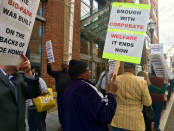 Protesters march against a subsidy the city gave to the developer of the University of Maryland's BioPark. Photo by Julie Podczaski.