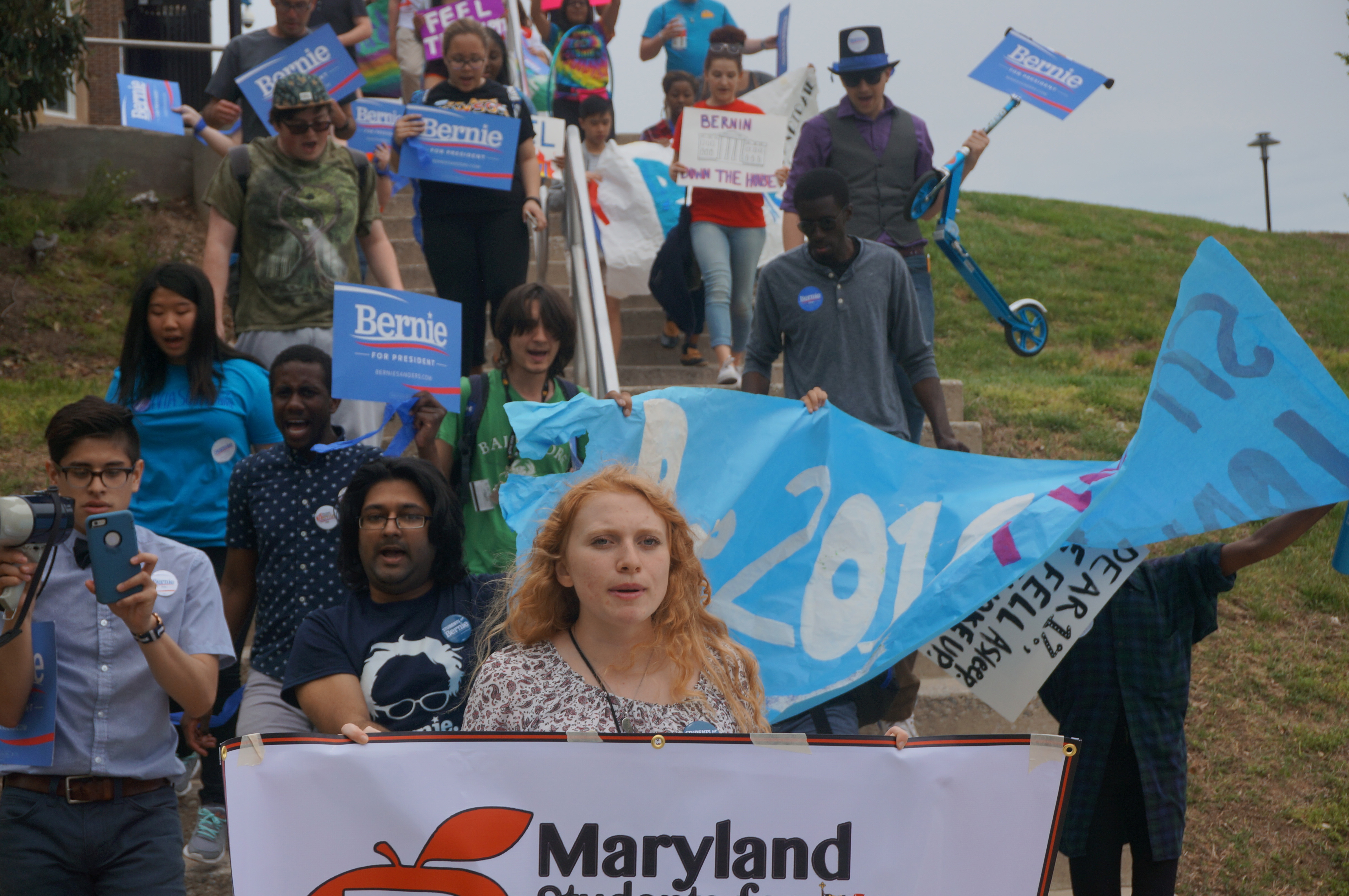 Towson University students march across campus in support of Bernie Sanders for president. Photo by Alex Ziolkowski.