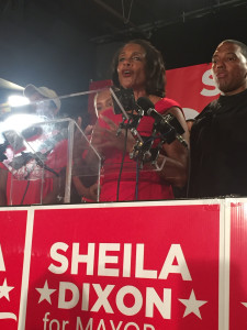 Former Mayor Sheila Dixon said she was not bitter about losing the Democratic primary Tuesday night. Photo by Catherine Sanders.