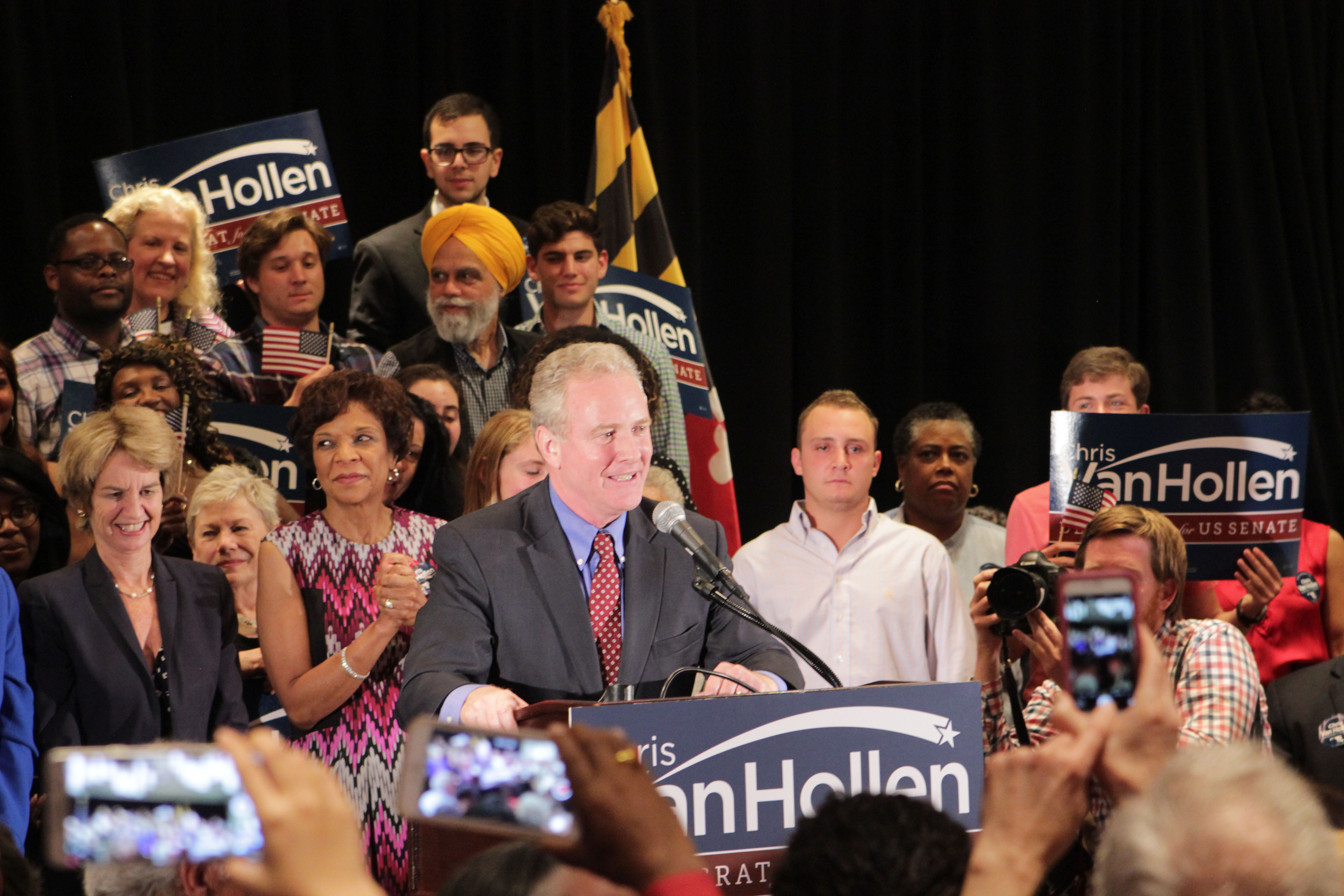 Chris Van Hollen gives his victory speech after defeating Donna Edwards in the Democratic primary Tuesday night. Photo by Sean Smith.