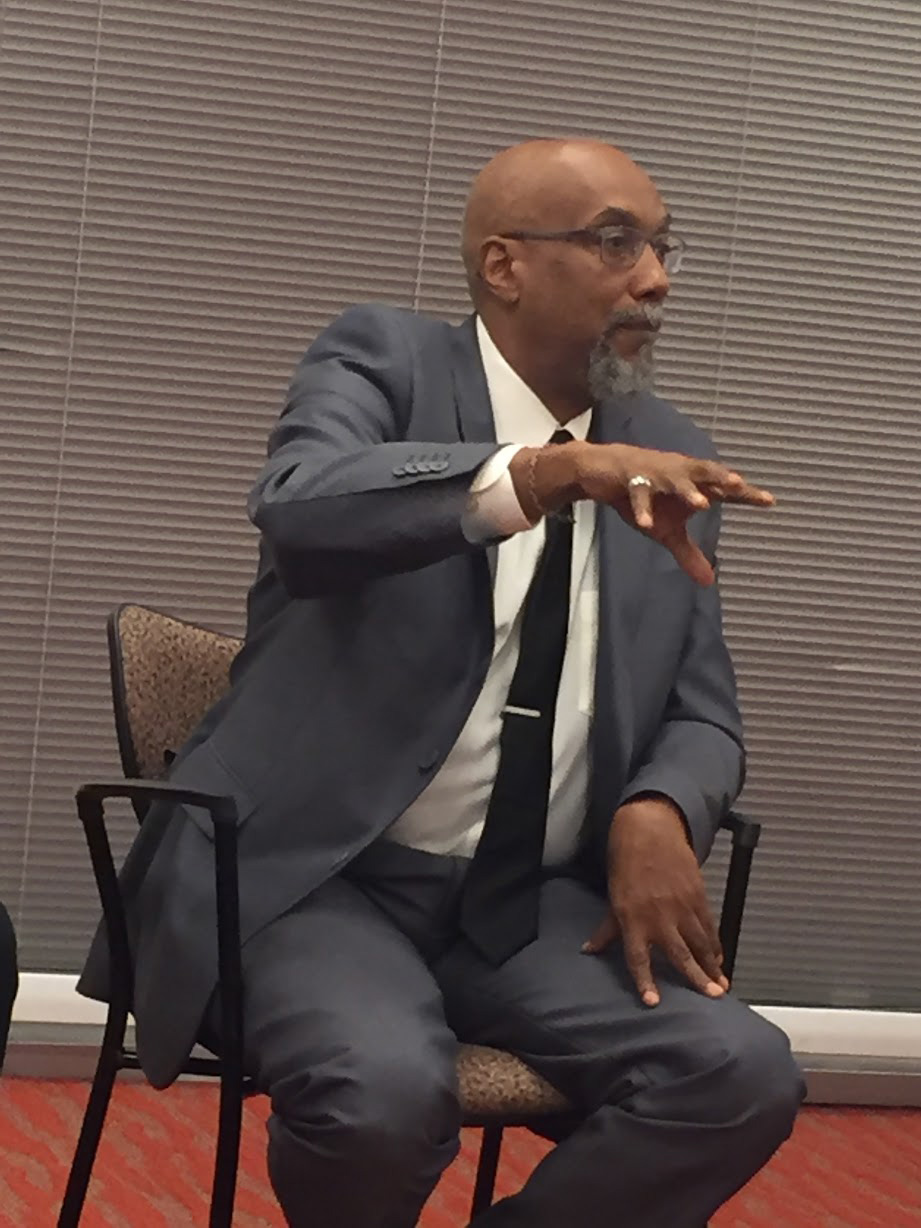 Green Party Vice Presidential candidate Ajamu Baraka speaks during an event at Morgan State University yesterday