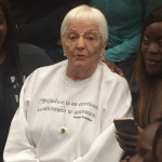 Jane Elliot issued a warning against racism and other forms of discrimination during a speech at Towson University Wednesday. Photo by Christopher Katz.