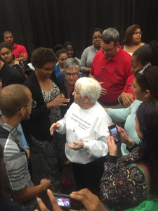 Elliot talks with members of the audience at Towson Wednesday. Photo by Christopher Katz.