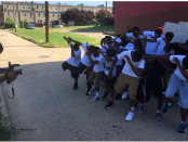 Baltimore middle school students film the #BattleScars music video this summer.