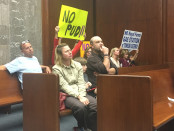 Towson residents urged the County Council to reject a proposed Royal Farms gas station on York Road. Photo by Tyler McGee.