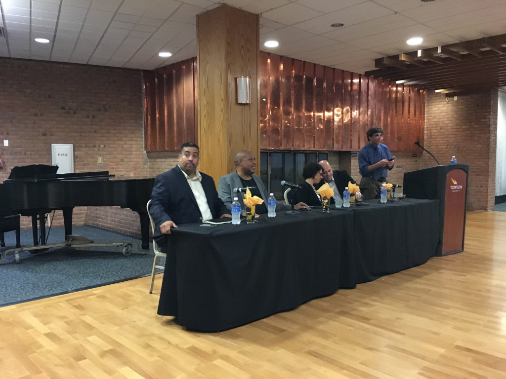 Towson University held a panel discussion on how the news media has covered Donald Trump and the 2016 presidential election. From left to right: Joe Torres, Charles Robinson, Jennifer Rubin, and Brian Stelter.