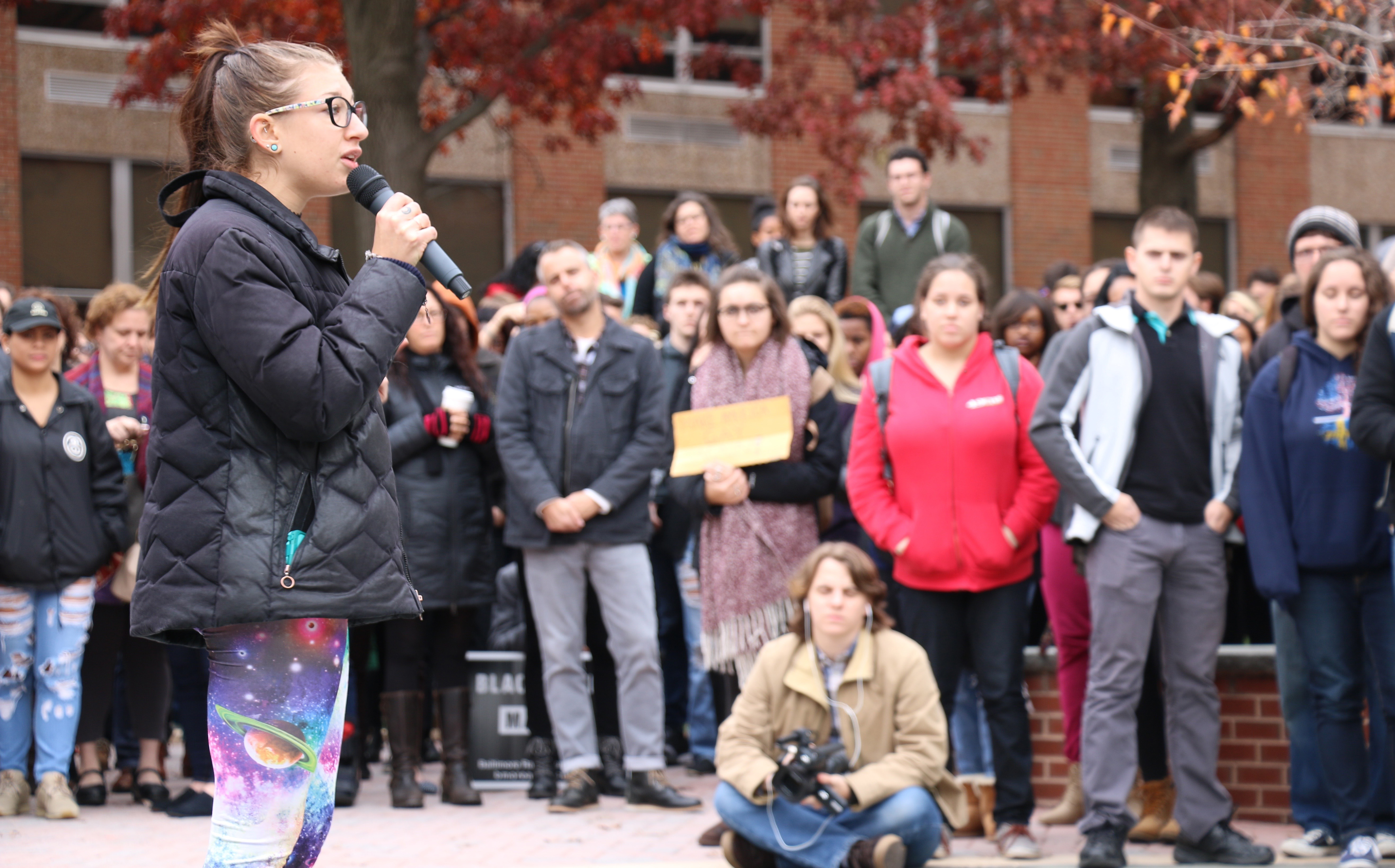 An estimated 300 students staged a walkout of classes Monday at Towson University to express their opposition to President-elect Donald Trump. Photo by Tracy Smith.