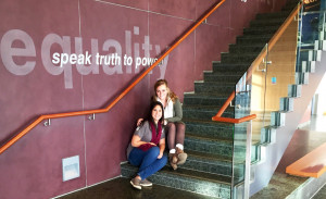 Megan Heidler (right) at the Speak Truth to Power international human rights initiative that she helped pilot at Choice in the early summer of 2015. Photo provided by Heidler.