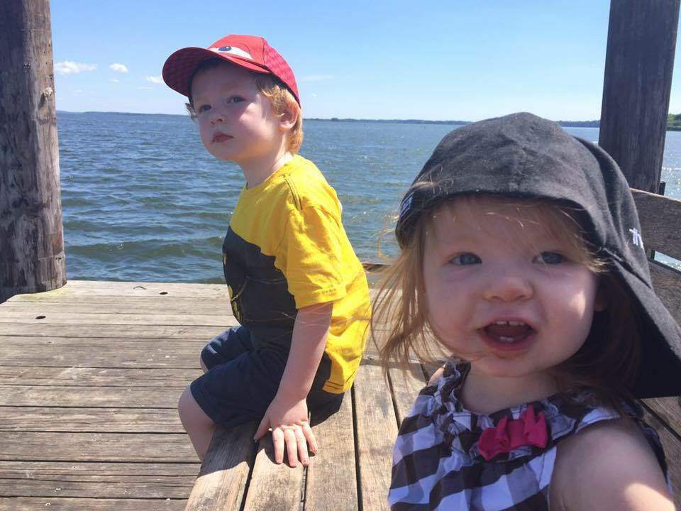 Oliver Feeheley, left, and Elliot Feeheley, right, enjoy a walk on the waterfront. Photo courtesy of James Feeheley.