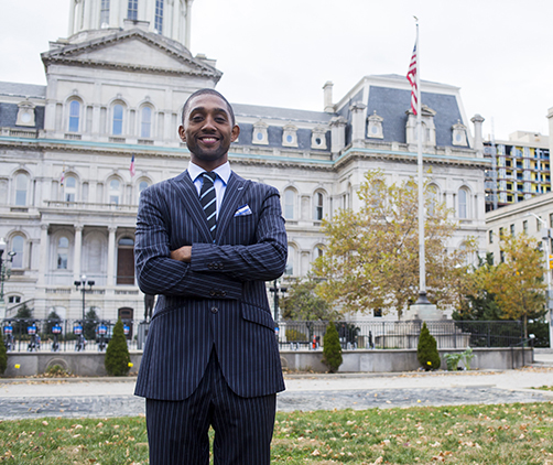 Councilman Brandon Scott in front of City Hall in Baltimore.