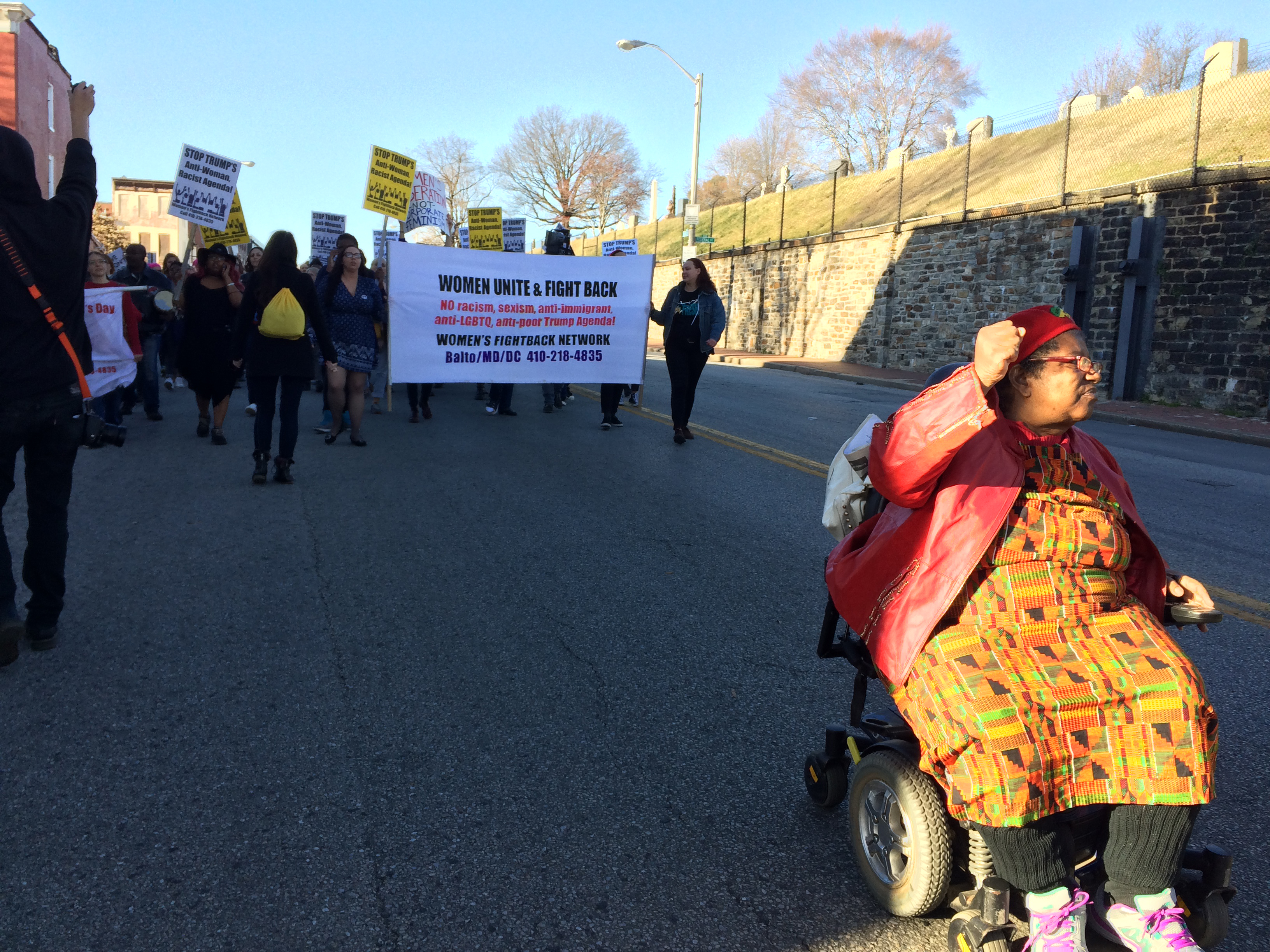 Annie Chambers, right, leading the protest. Photo by Katie Keough.
