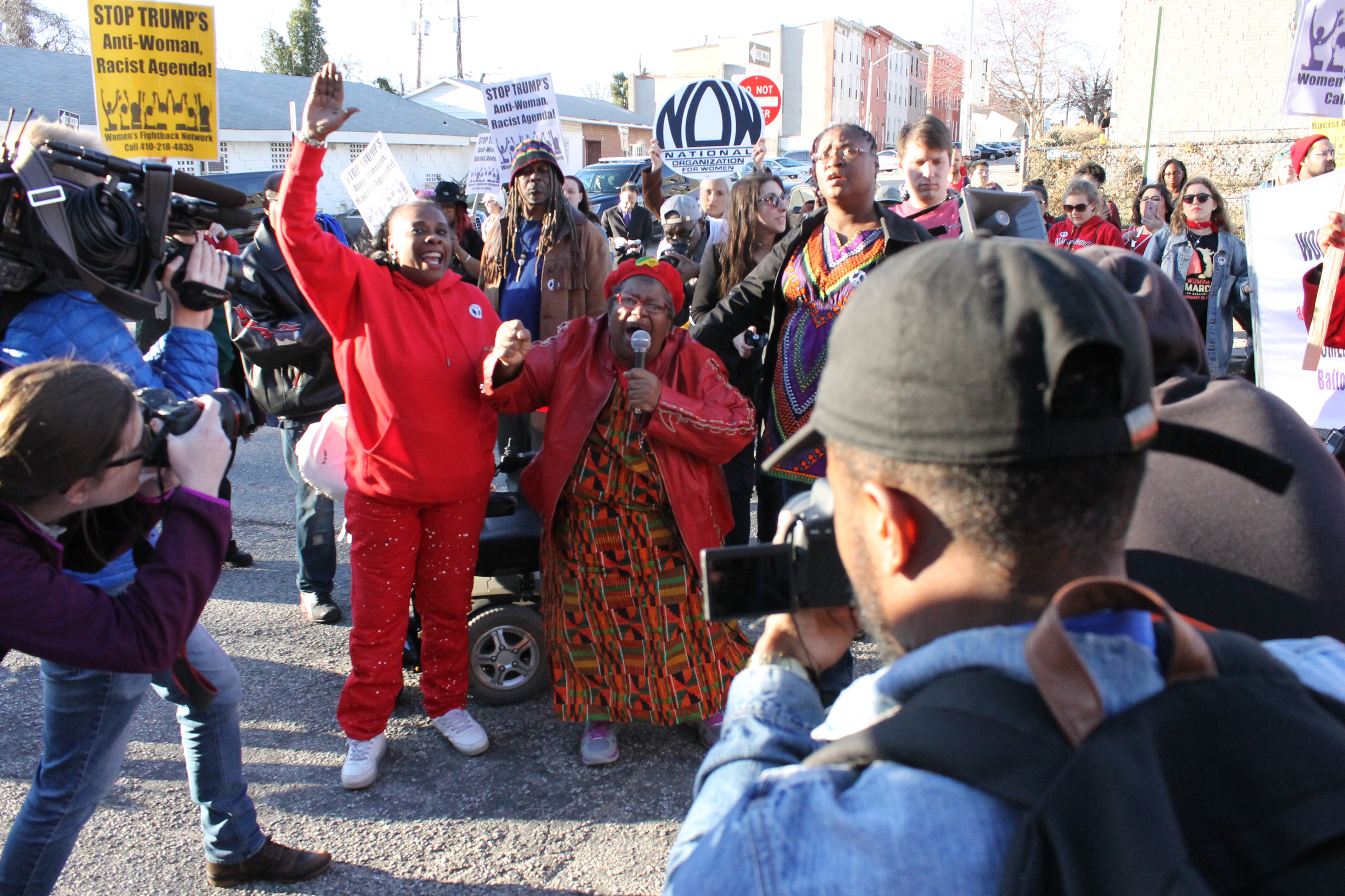 Annie Chambers and other protesters outside the Women's Detention Center. Photo by Katie Keogh.