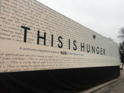 "An 18-wheeler truck that holds the ""This Is Hunger"" exhibit. Photo by Taylor Nappi."