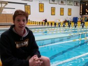 Towson University swimmer Jack Saunderson placed 16th in the NCAA Men's Swimming and Diving Championships on March 25. Photo by Wynne Kirchner.