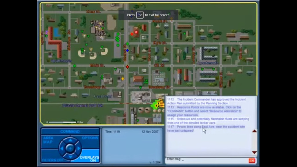 A screenshot of Incident Commander, a training game for first responders dealing with catastrophic events. Photo used with permission from BreakAway.