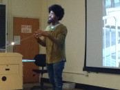 Photographer Devin Allen spoke to Towson University students on Thursday. Photo by Billy Owens.