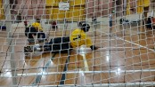 Muhammad Waheed puts his body on the line to stop a goal.